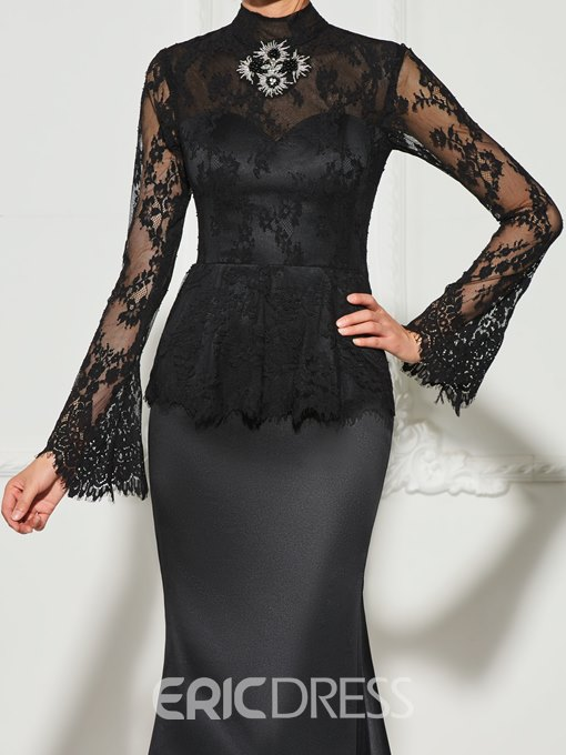 Ericdress Long Sleeve High Neck Beaded Lace Mermaid Evening Dress