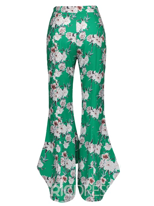 Color Block Floral Print Wide Legs Women's Pants