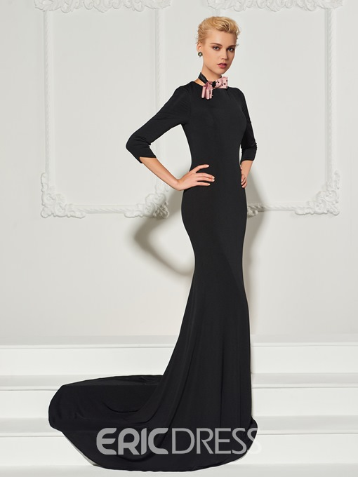 Ericdress 3/4 Sleeve Bowknot Mermaid Evening Dress With Sweep Train