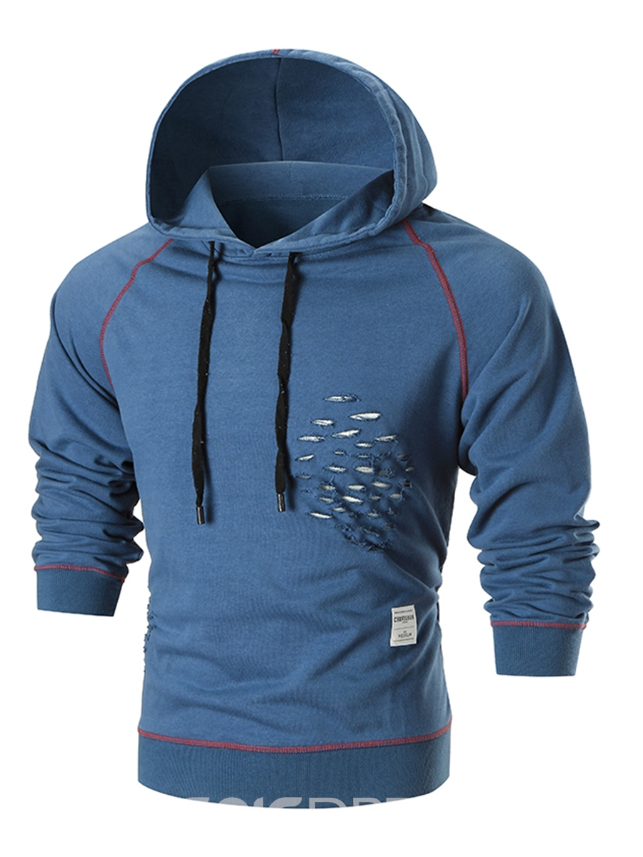 Ericdress Plain Hole Hooded Pullover Slim Men's Hoodie