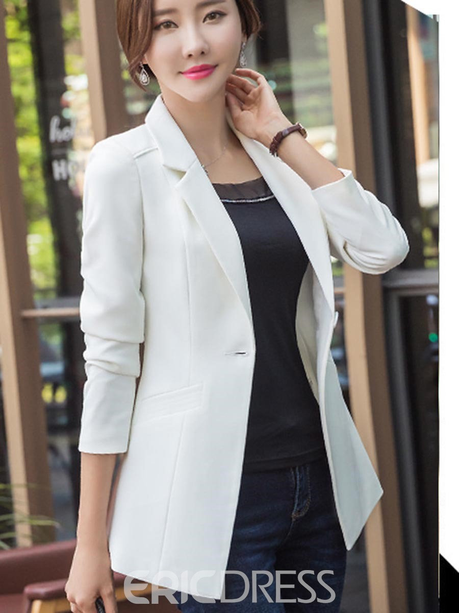 Ericdress Notched Lapel Solid Color One Button Blazer