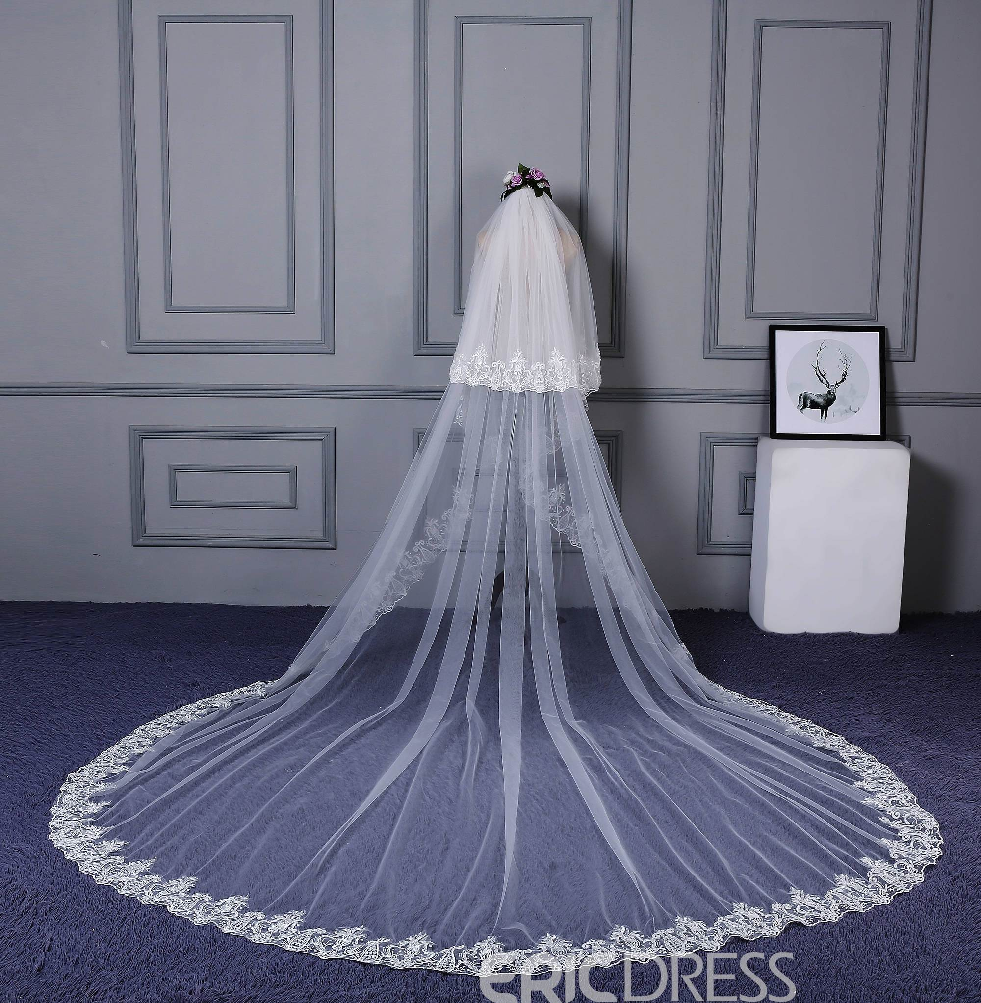 Ericdress Applique Edge Tulle Long Bridal Veil