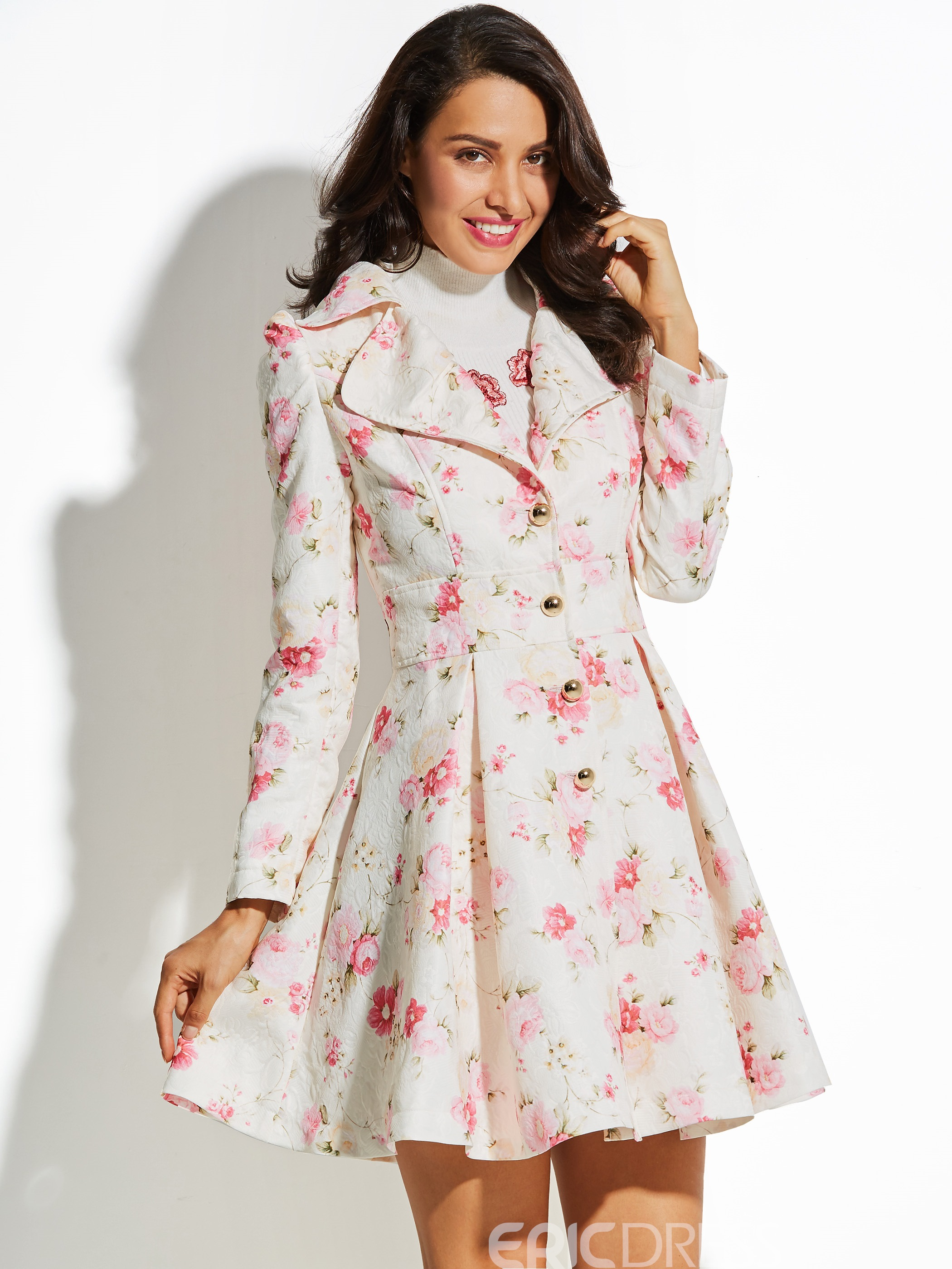 Ercdress Floral Sweet A-line Vacation Overcoat