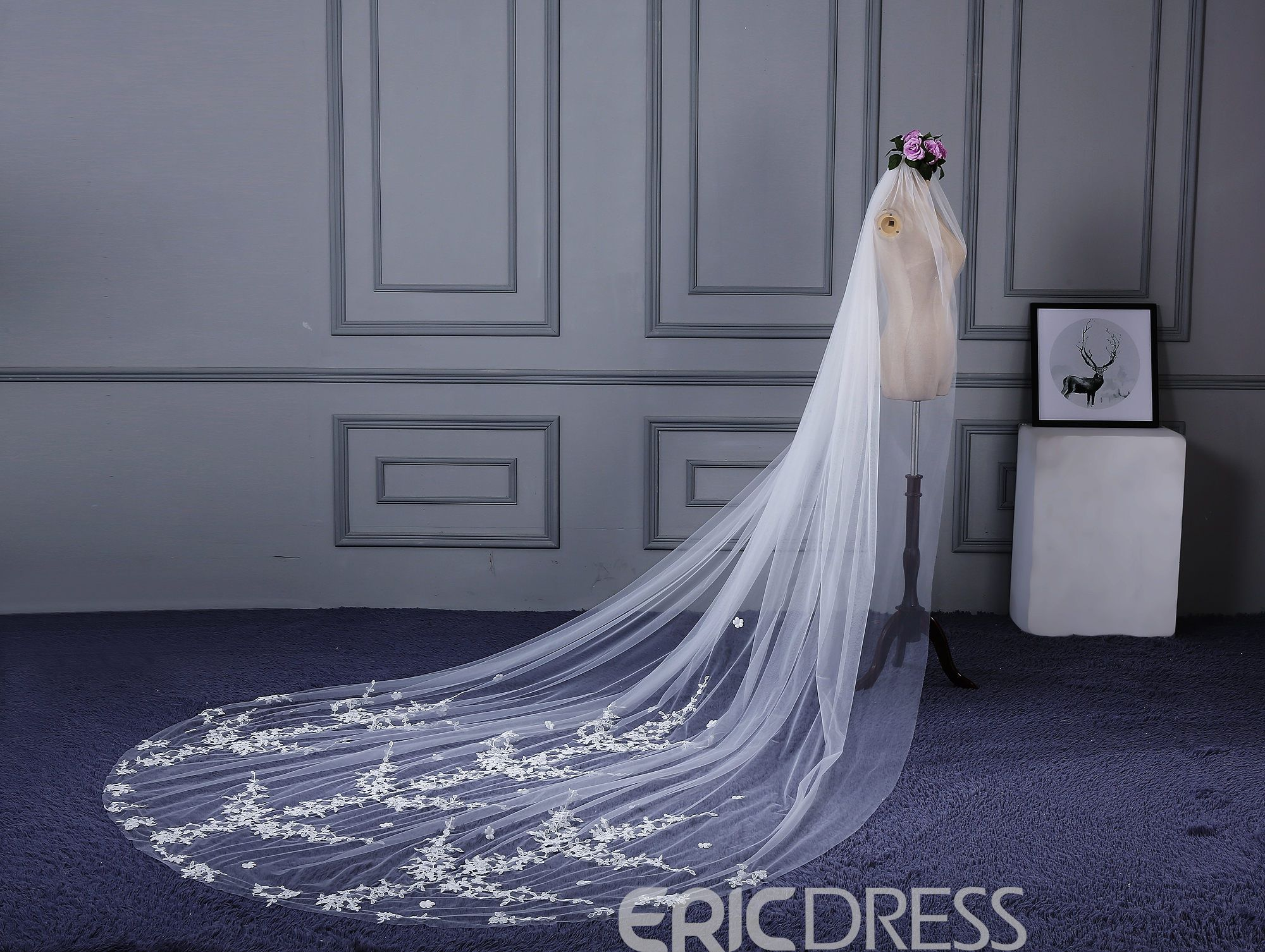 Ericdress Concise Appliques Cathedral Wedding Dress