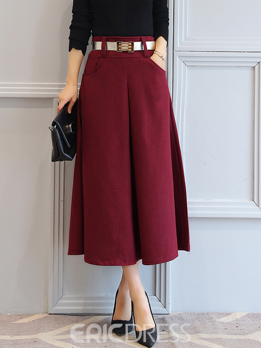 Ericdress A-Line Ankle Length Mid-Waist Women's Fall Skirt