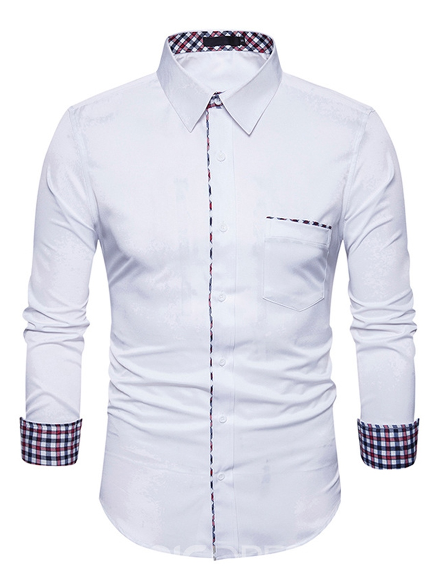 Ericdress Plain Lapel Patchwork Casual Slim Men's Shirt
