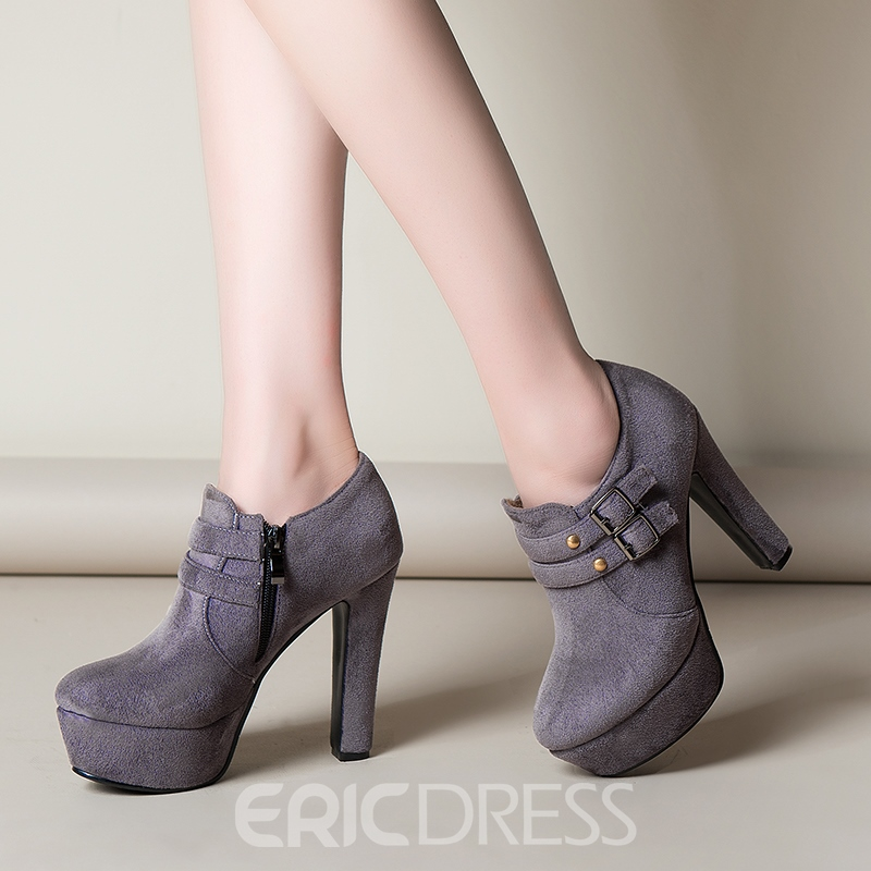 Ericdress Buckle Platform Plain High Heel Boots