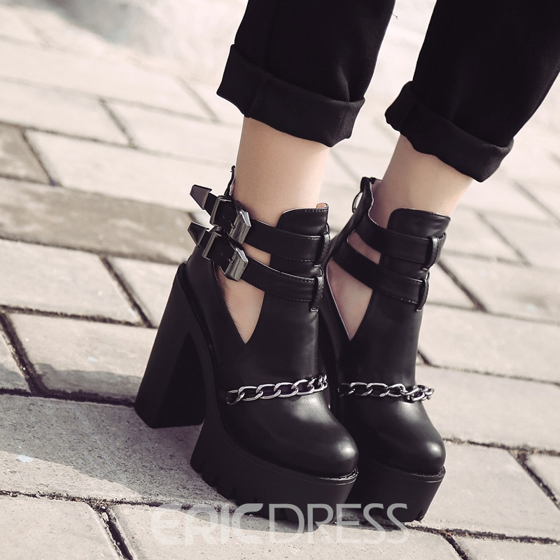 Ericdress Hollow Chain Platform Women's Shoes with Buckle