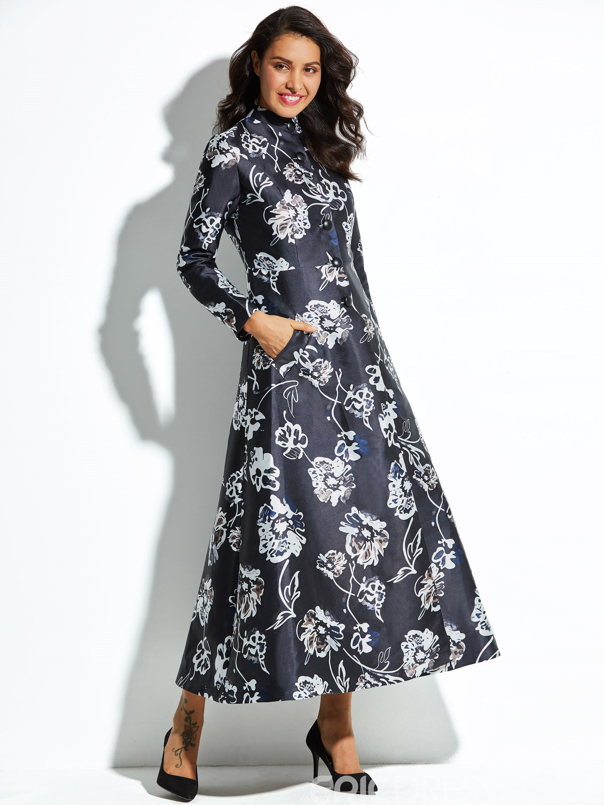 Ericdress Stand Collar Floral Print Single-Breasted Trench Coat
