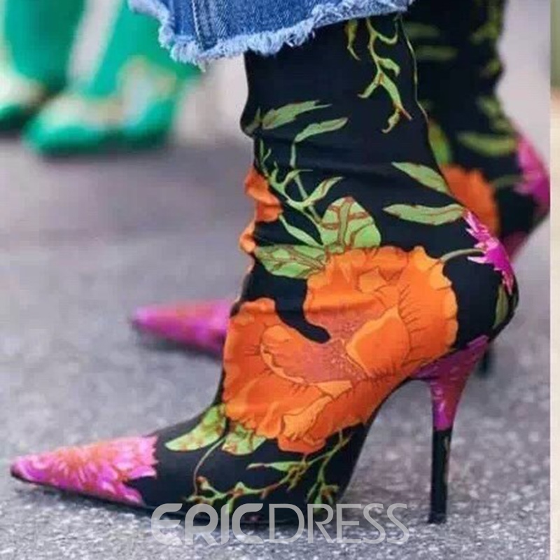 Ericdress Popular Floral Pointed Toe Stiletto Heel Women's Boots