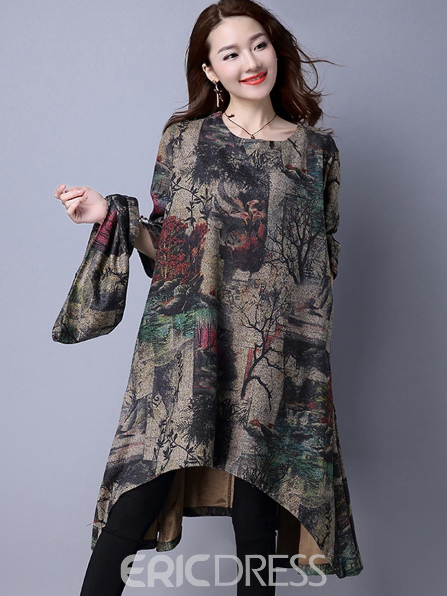 Ericdress Print High Neck Asymmetrical Casual Dress