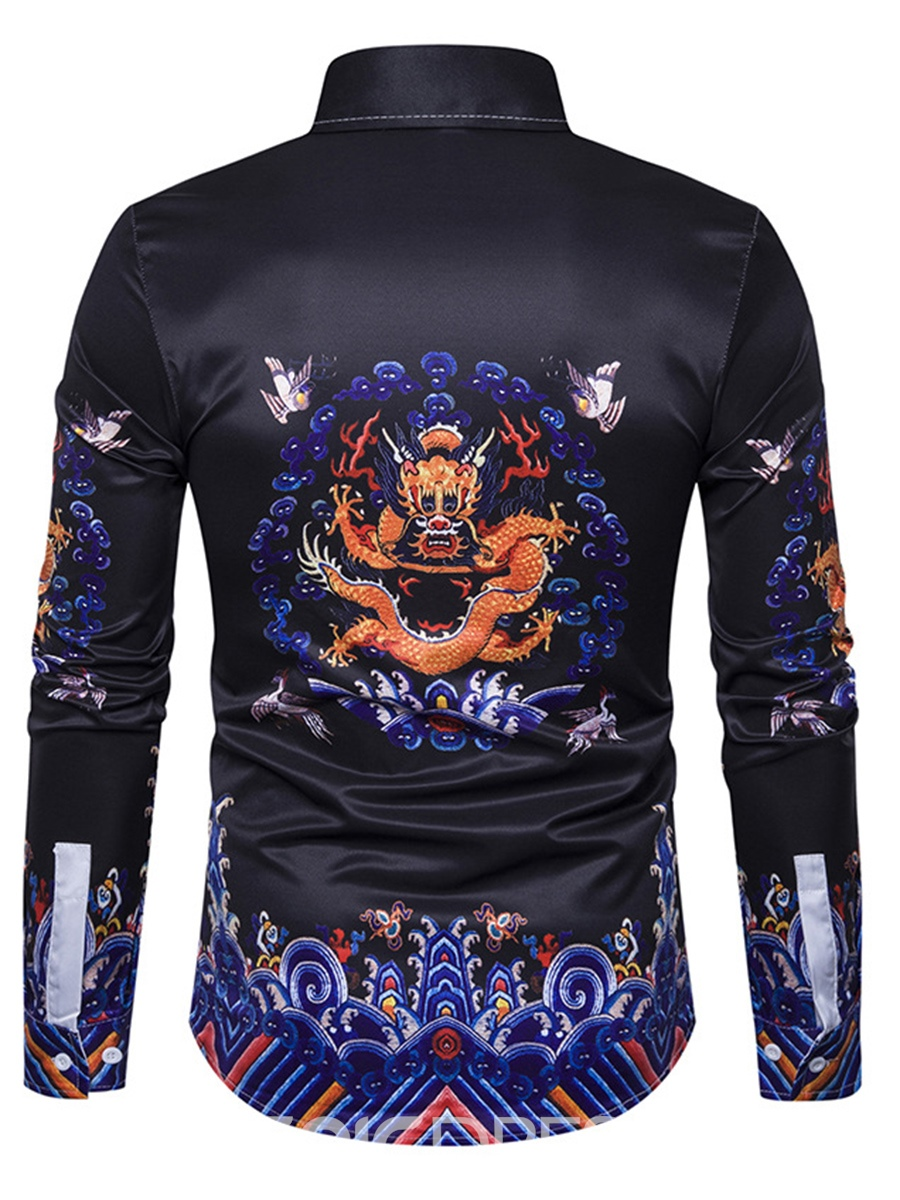 Ericdress Ethnic Style Cotton Floral Single-Breasted Unique Men's Shirt