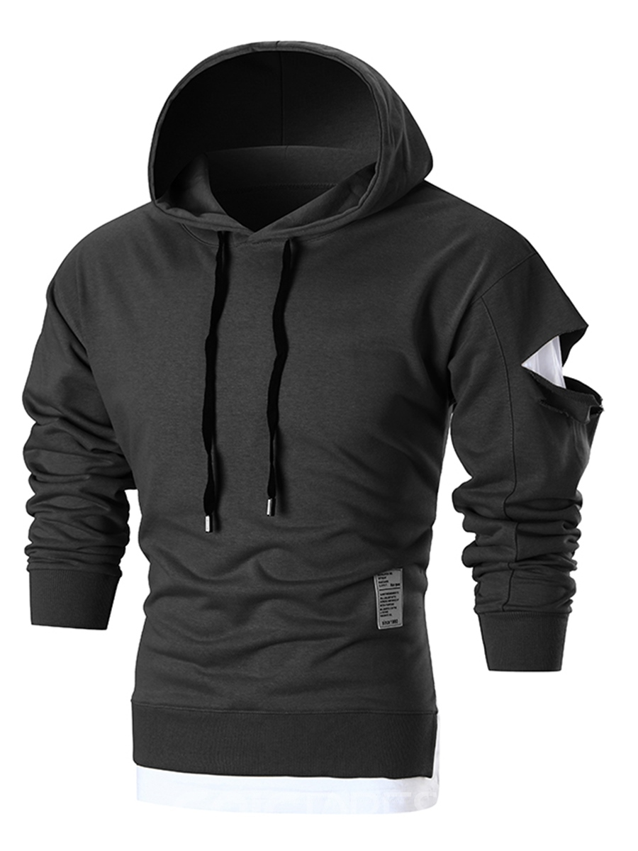Ericdress Plain Hole Hooded Pullover Slim Fit Men's Hoodie