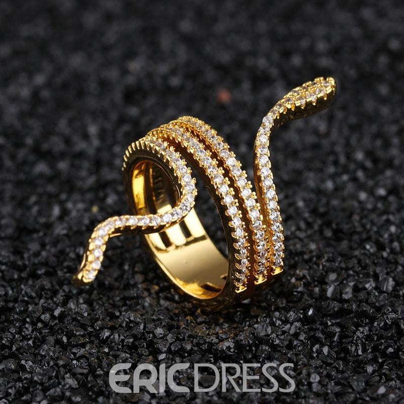 Ericdress Exquisite Full Rhinestone 18K Gold Plating Snake Ring for Women