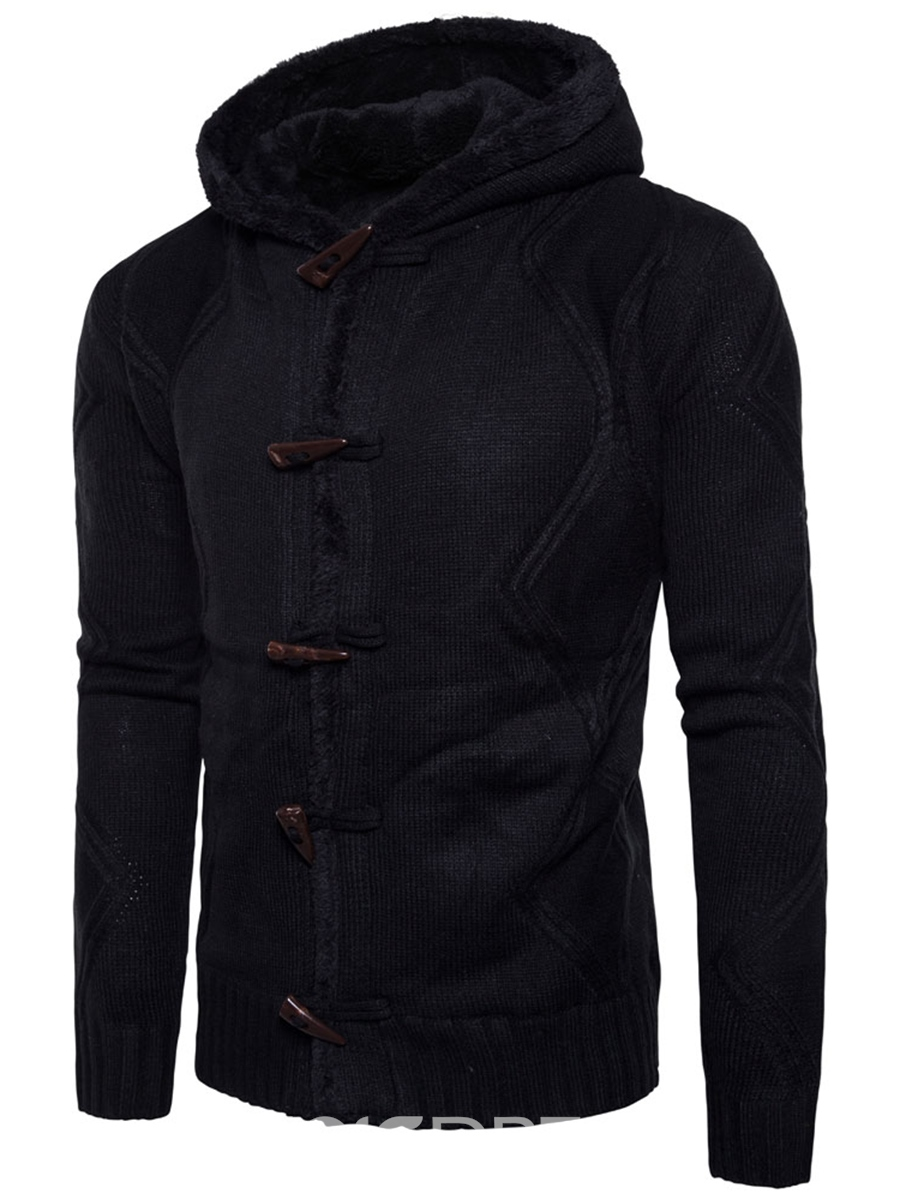 Ericdress Hooded Horn Button Solid Color Men's Cardigan Sweater ...