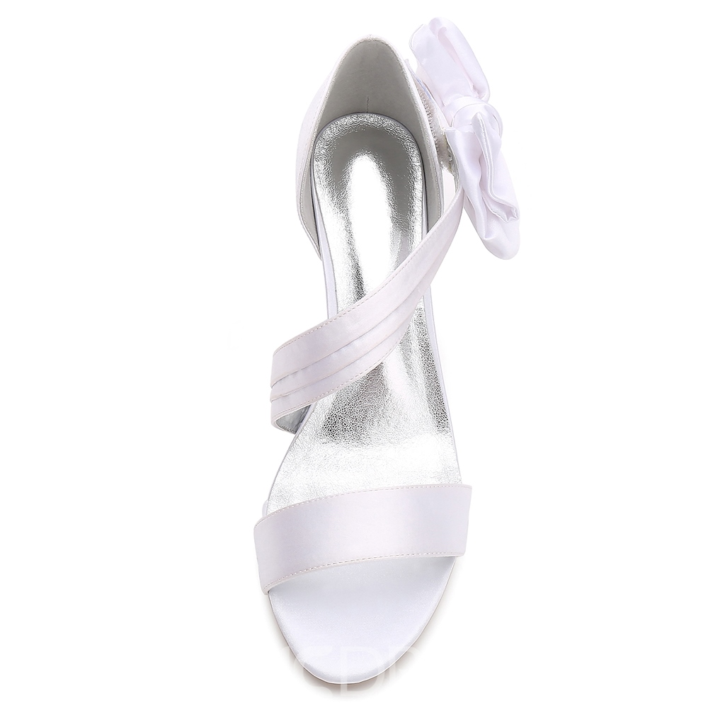 Ericdress Plain Slip-On Stiletto Heel Wedding Shoes with Bowknot