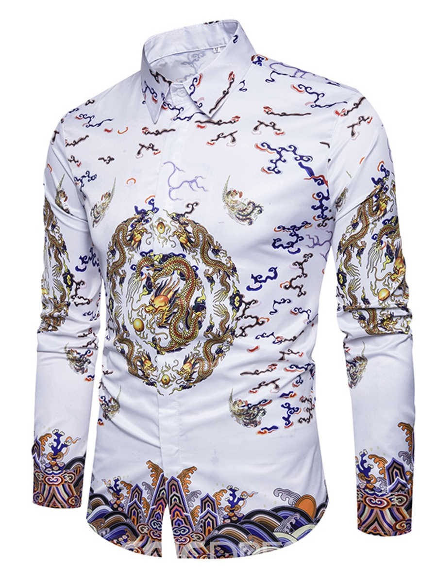 Ericdress Ethnic Style Cotton Floral Single-Breasted Slim Men's Shirt