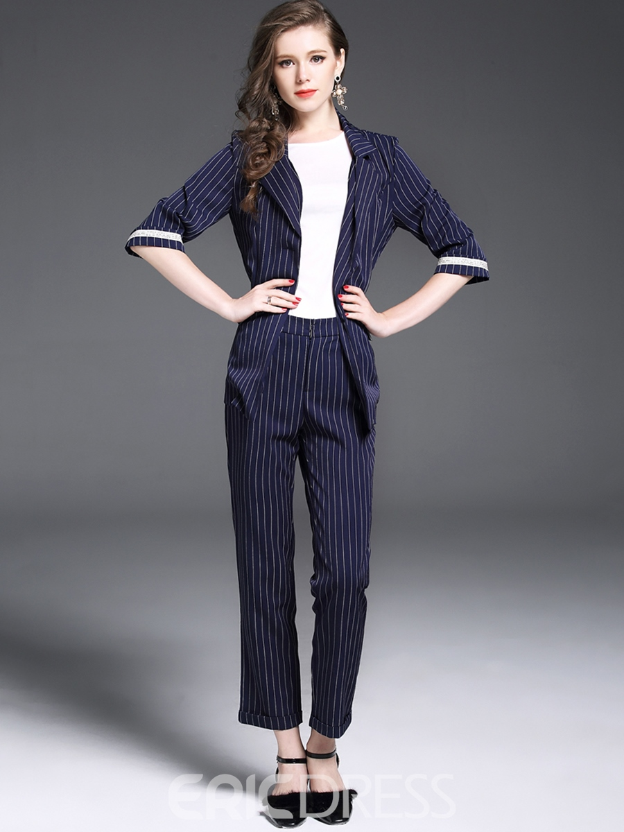 Ericdress Stripe Blazer and Ankle Length Pants Women's Fashion Suit