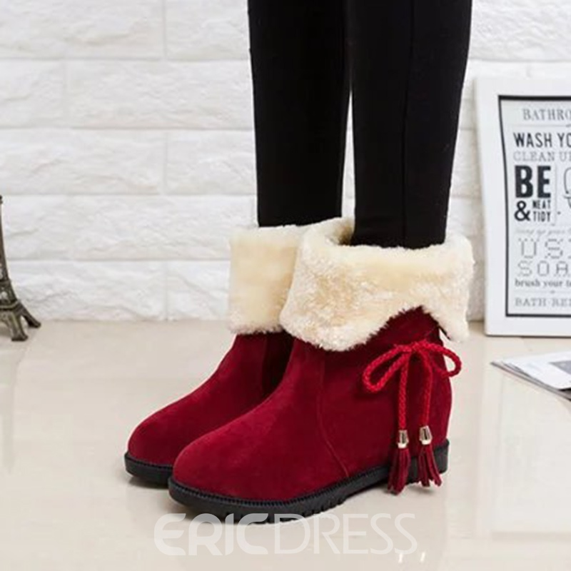 Ericdress Fringe Slip-On Plain Flat Boots