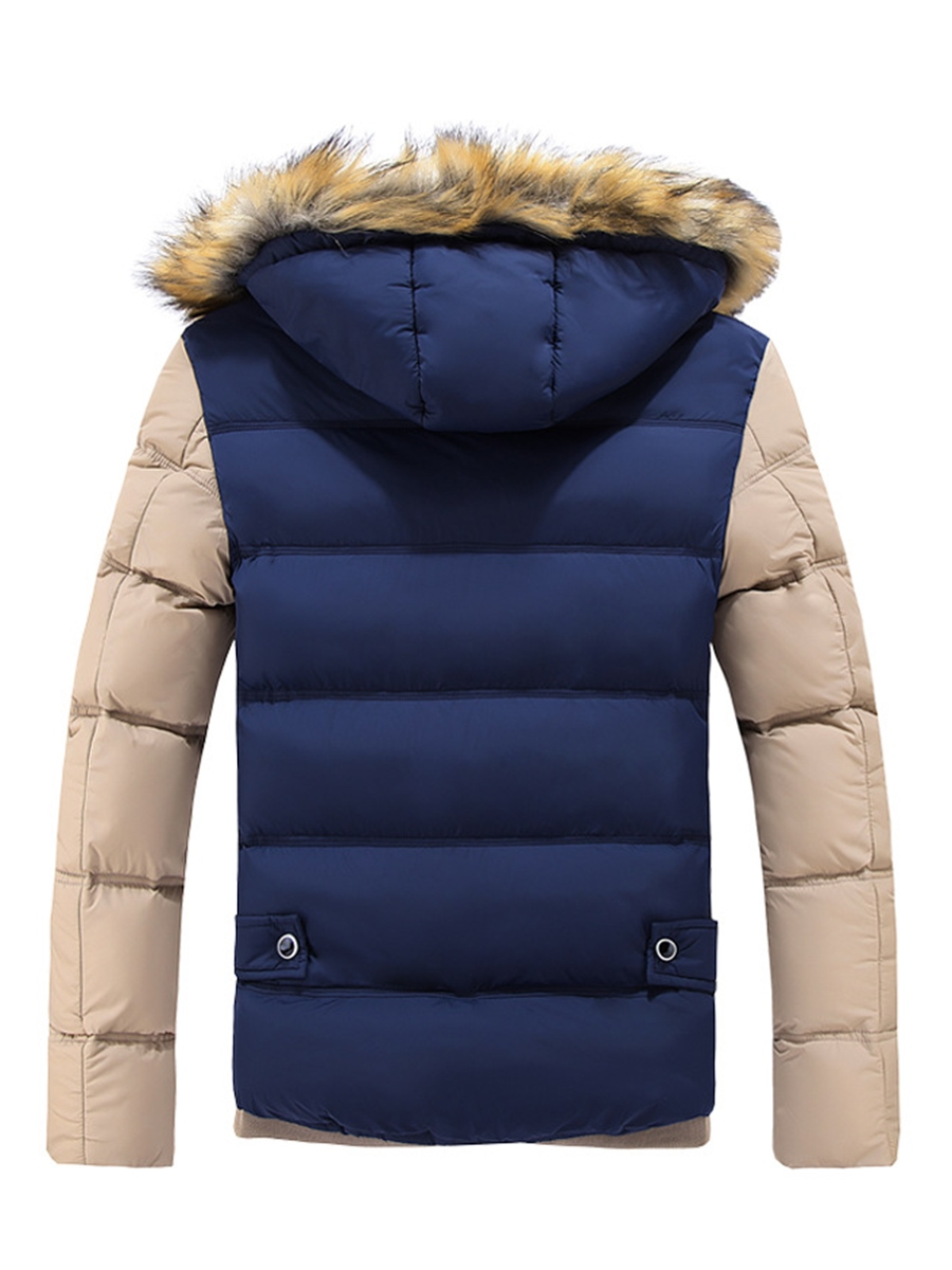 Ericdress Faux Fur Color Block Thicken Warm Down Slim Men's Winter Coat