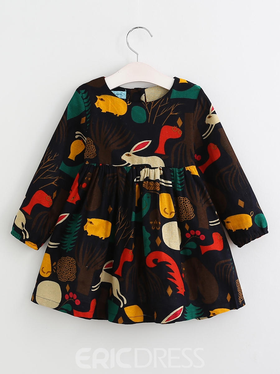 Ericdress Animal Pattern Long Sleeve Fall Girls Dress