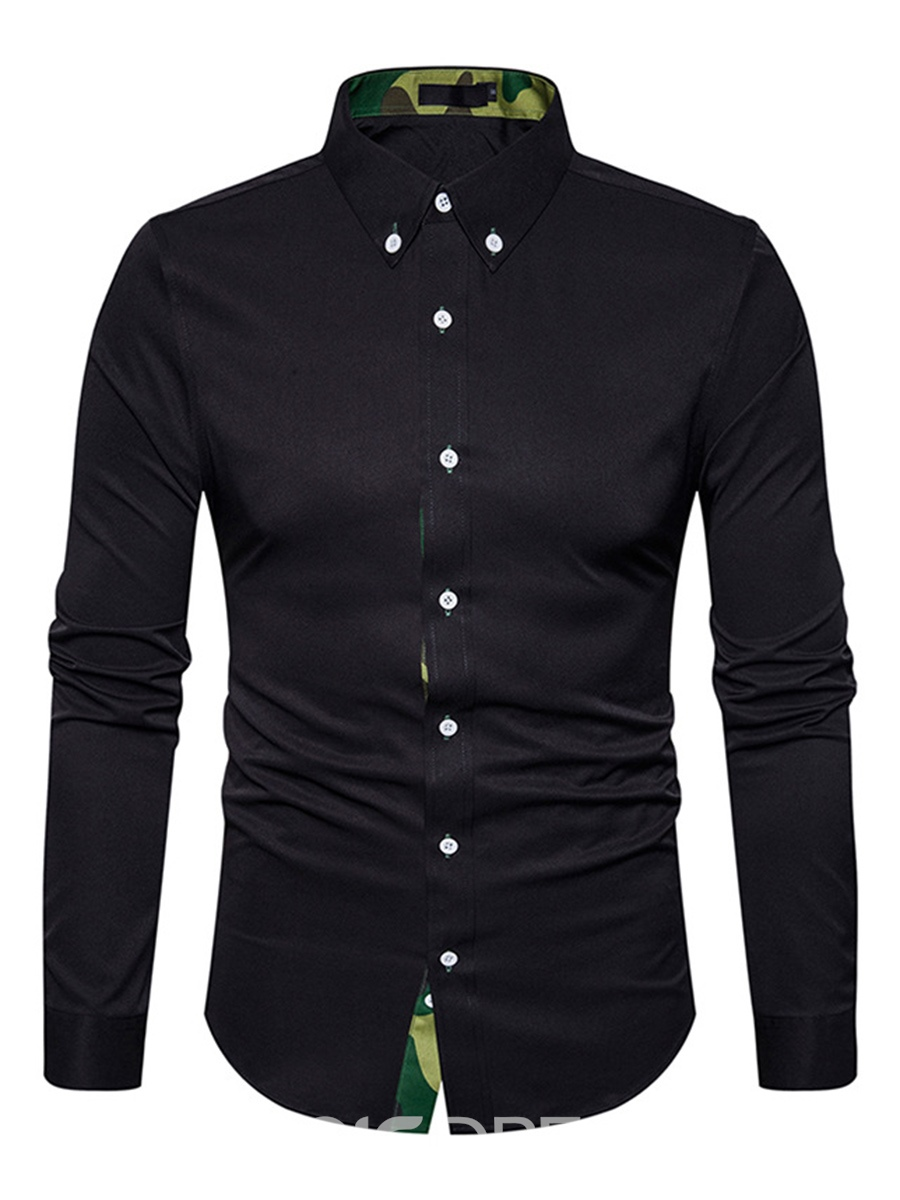 Ericdress Plain Lapel Cotton Patchwork Slim Men's Dress Shirt