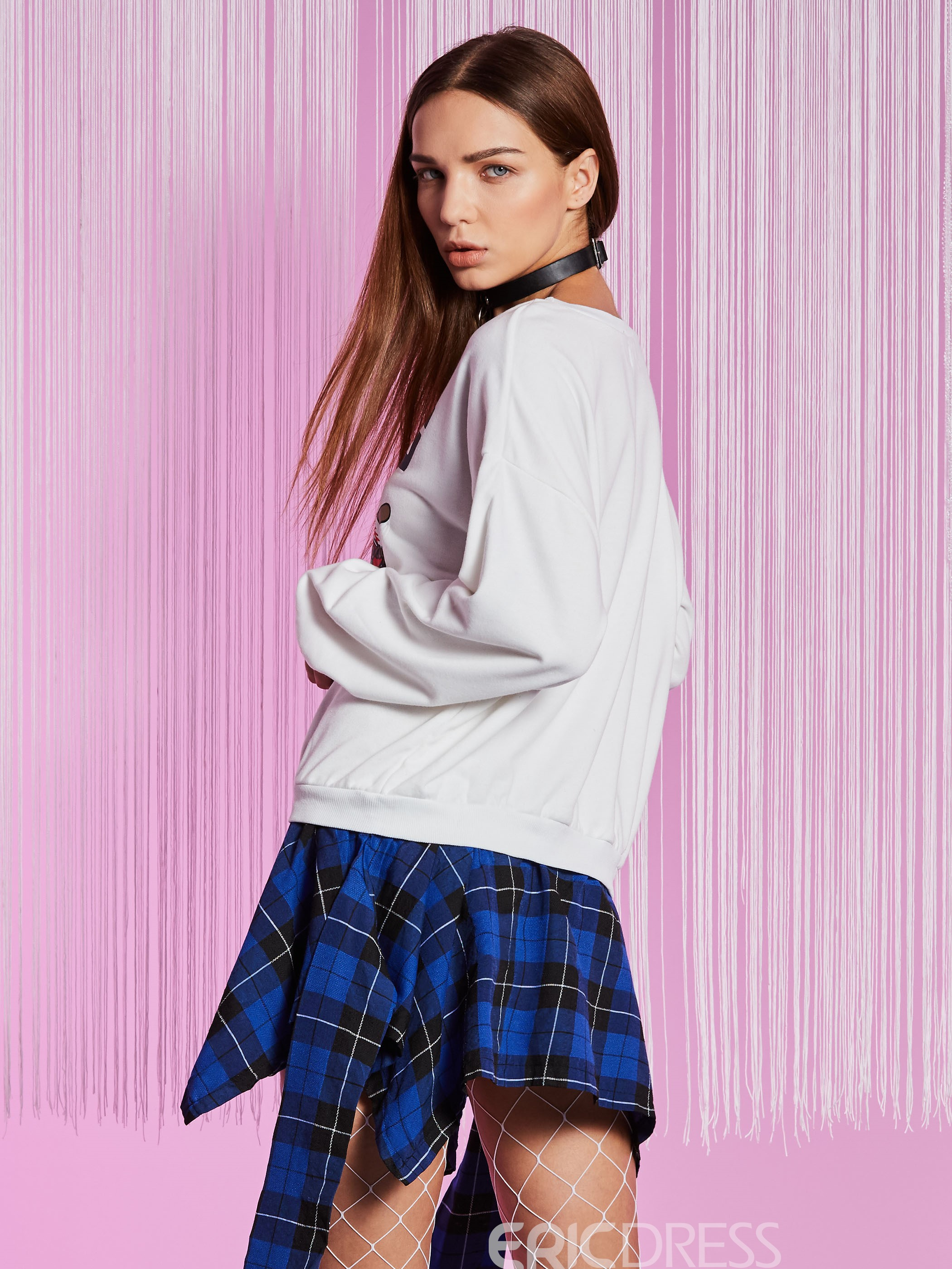 Ericdress Loose Letter Print Double-Layer Hoodie