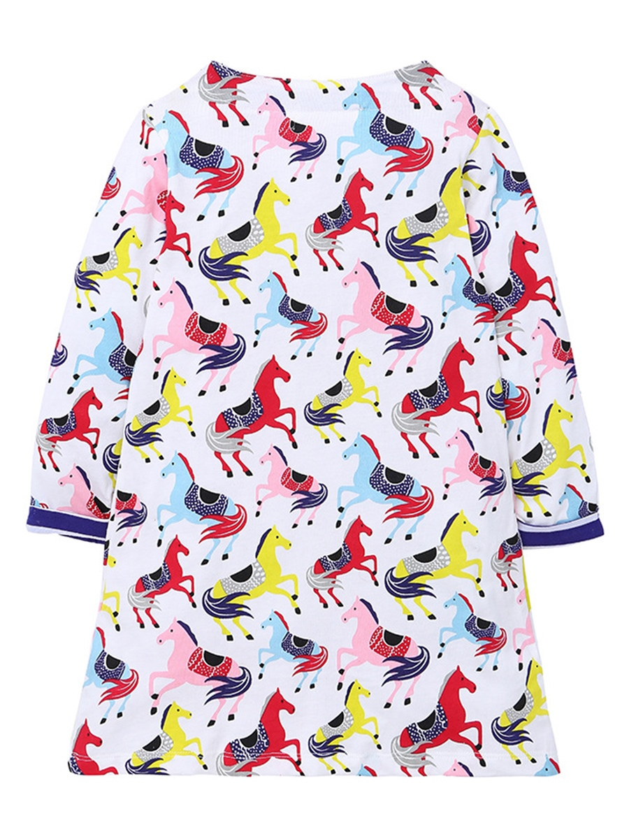 Ericdress Colorful Horse Pattern Long Sleeve Fall Girls Dress