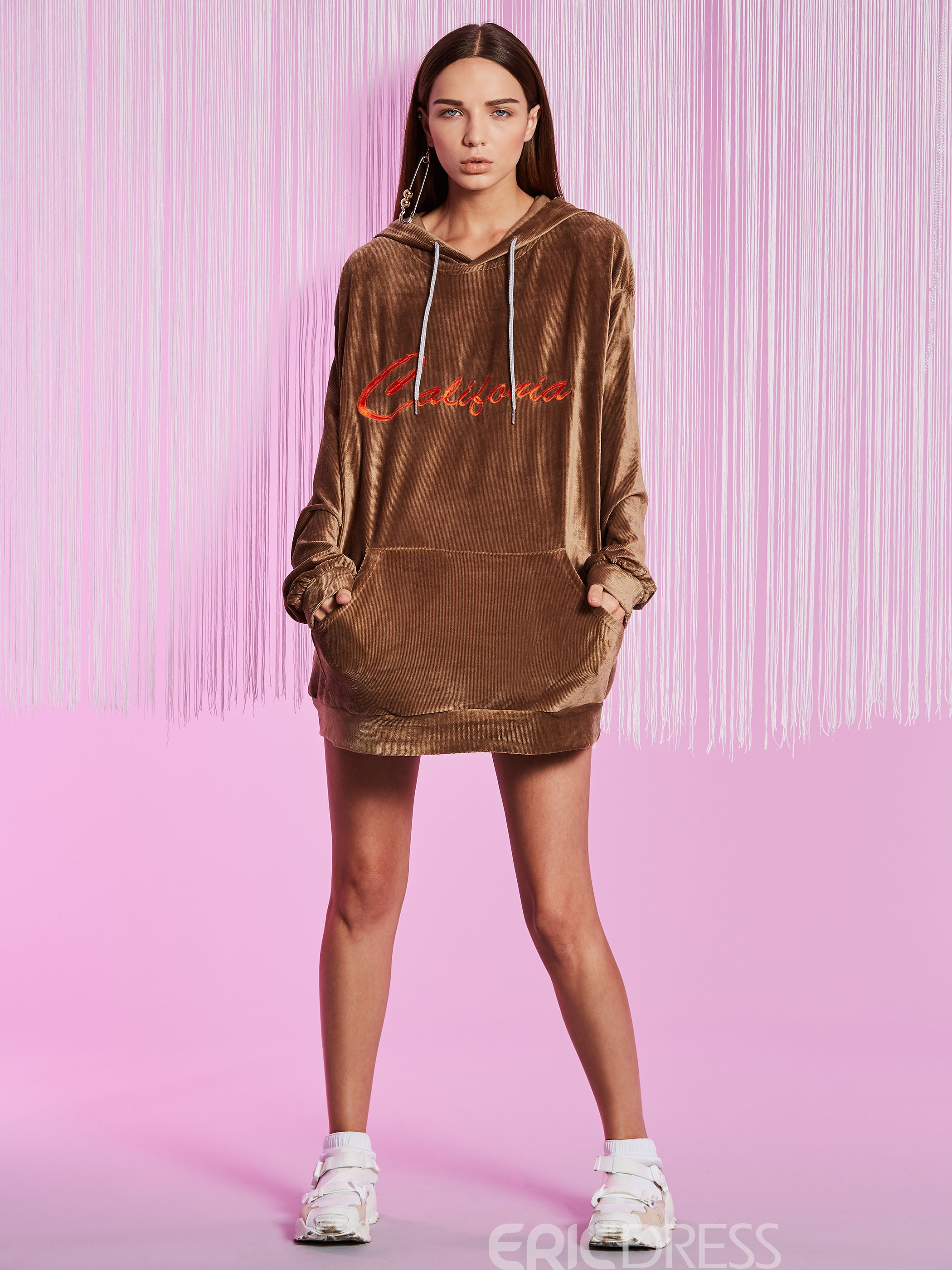 Ericdress Drawstring Kangaroo Pocket Velvet Embroideried Cool Hoodie