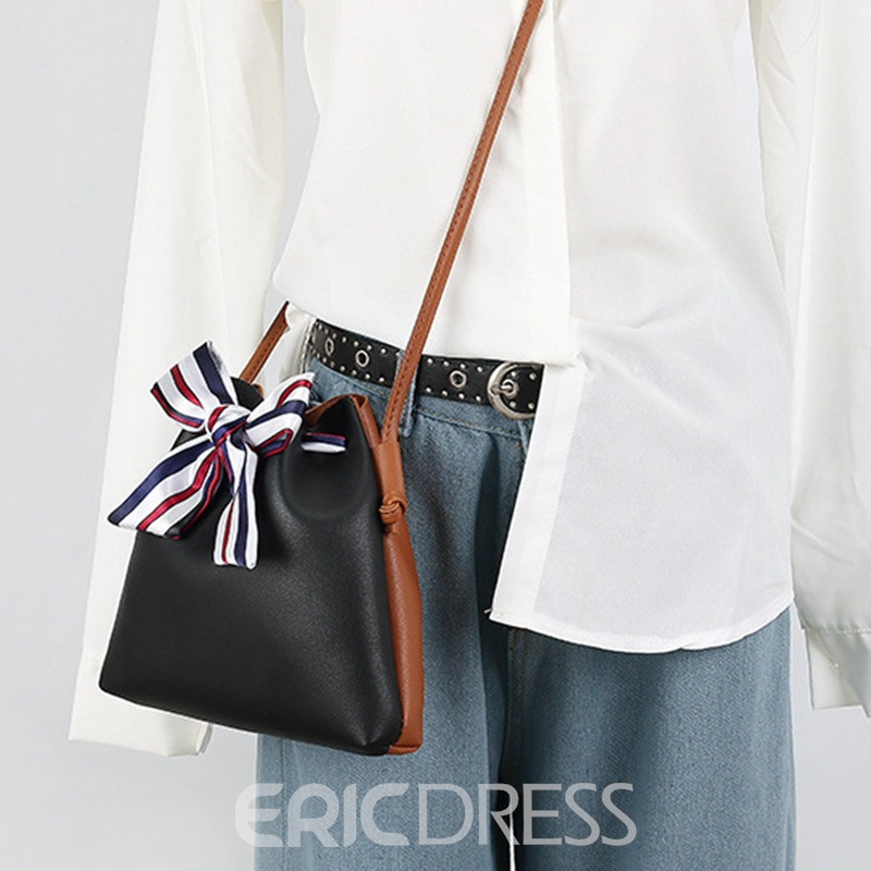 Ericdress Bucket Shape Silk Scarf Bowknot Handbag