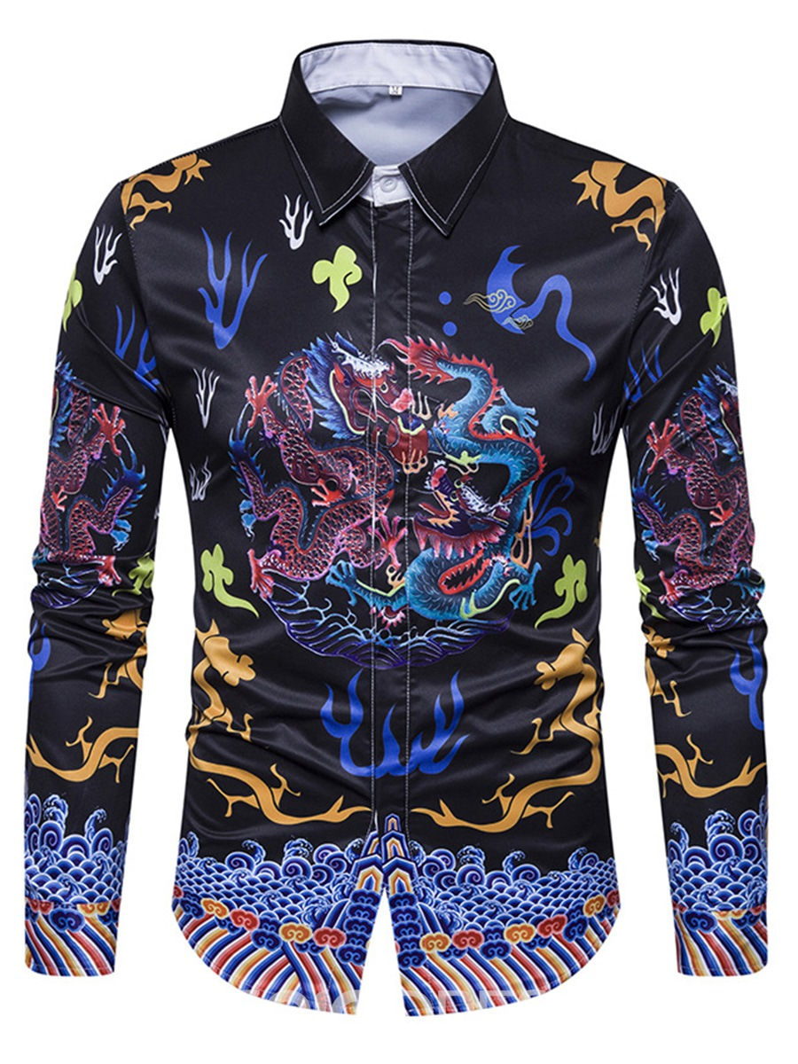 Ericdress Ethnic Style Print Single-Breasted Unique Men's Shirt