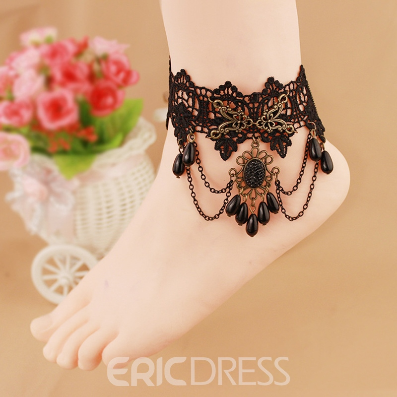 Ericdress Stylish Black Lace Hollow Out Women's Anklet