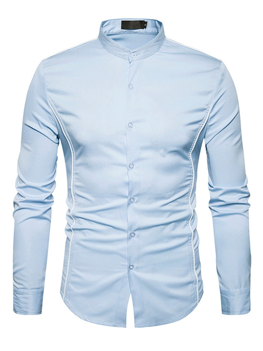 Ericdress Plain Cotton Stand Collar Long Sleeve Casual Men's Shirt