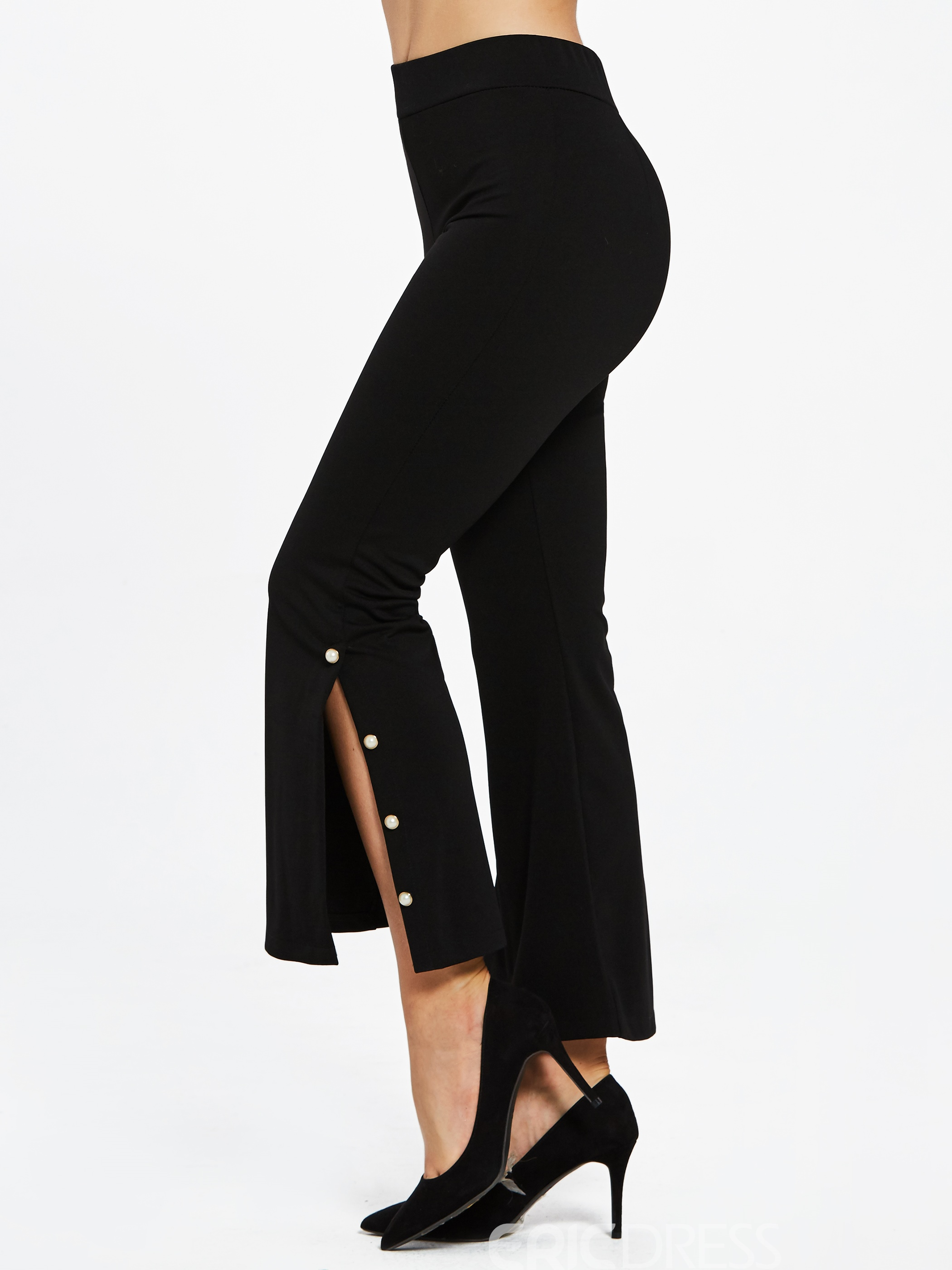 Slim Full Length Plain Women's Bellbottoms