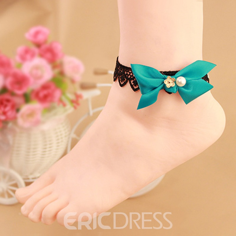 Ericdress Ladylike Black Lace Bowtie Anklet for Women
