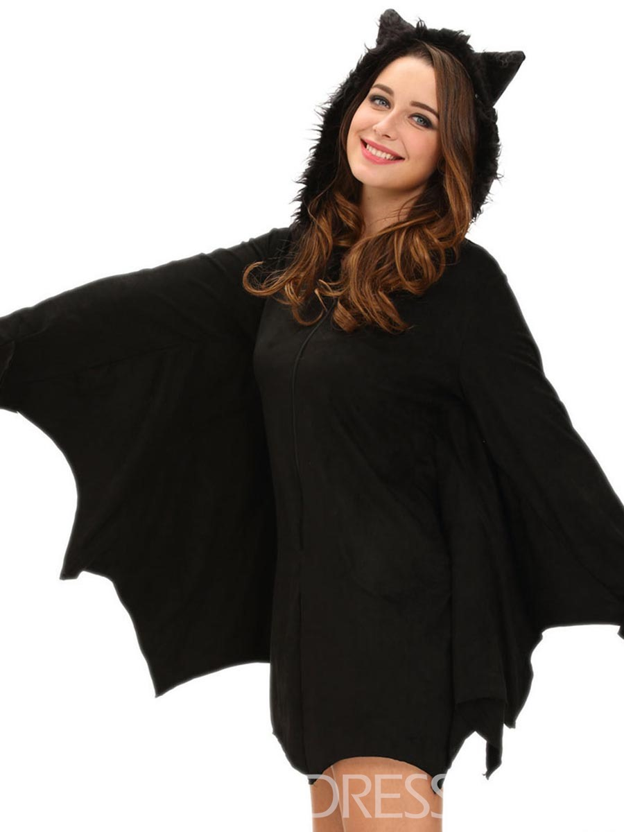 Ericdress Batwing Sleeve Hooded Asymmetrical Halloween Casual Dress