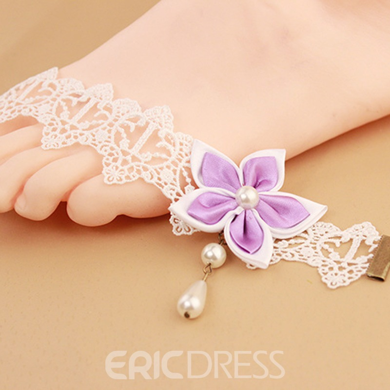 Ericdress Fabulous Bauhinia Decorated White Lace Anklet for Women