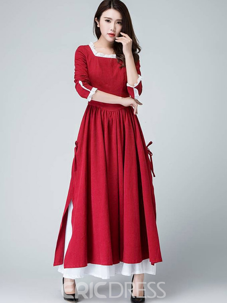 Ericdress Square Neck Falbala Belt-Tied Maxi Dress