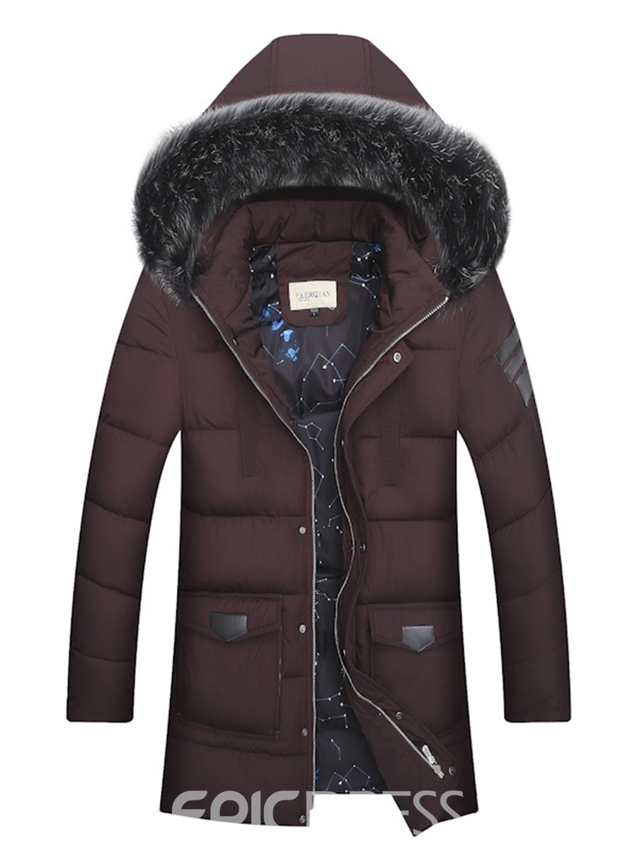 Ericdress Faux Fur Solid Color Zip Thicken Warm Men's Winter Coat