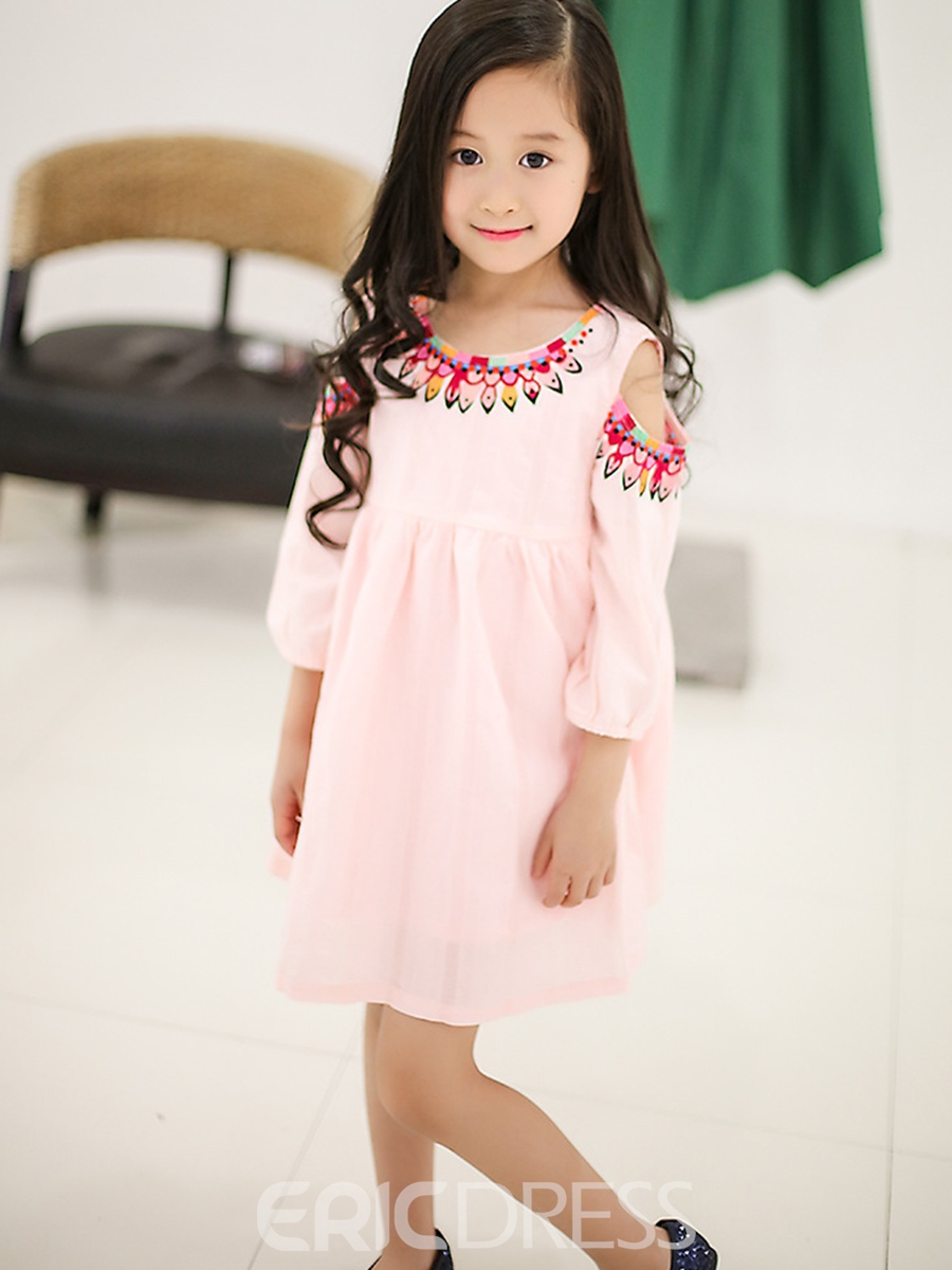 Ericdress Pleated Lantern Sleeve Off-Shoulder Girls Dress