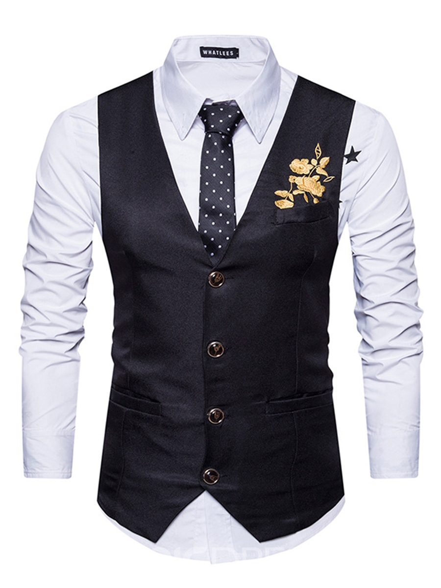 Ericdress Vogue Plain Embroidery Single-Breasted V-Neck Slim Men's Vest