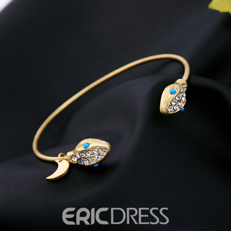 Ericdress Diamante Alloy Snake Open Bracelet for Women