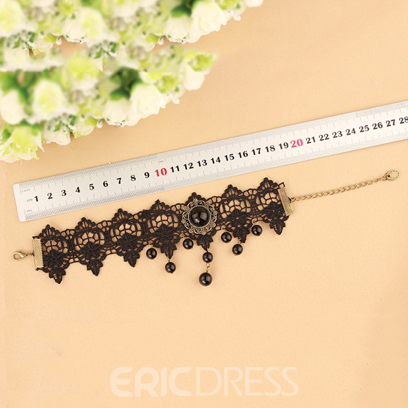 Ericdress Gothic Style Black Lace Imitation Pearl Vintage Tassel Anklet