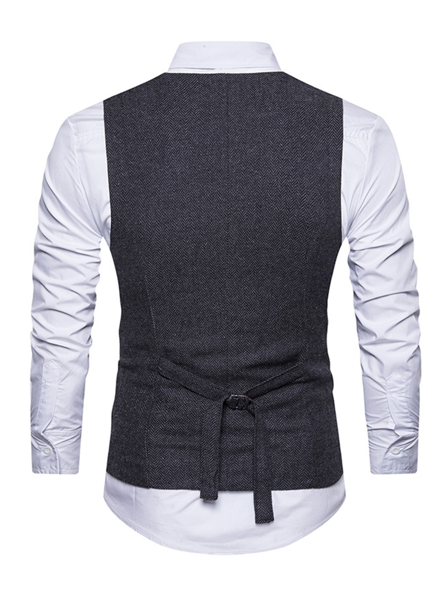 Ericdress Vintage Plain Double-Breasted V-Neck Slim Men's Vest