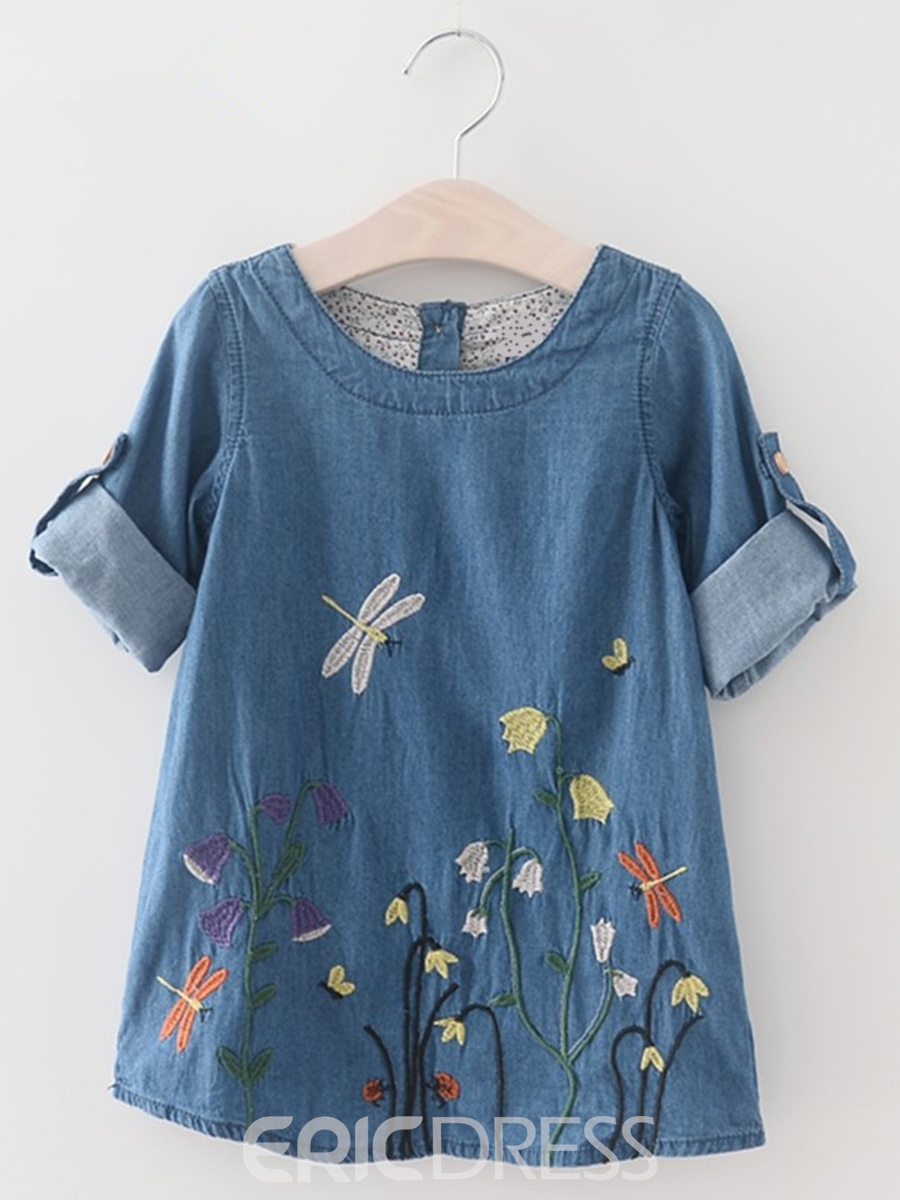 Ericdress Floral Embroidery Long Sleeve Denim Girls Dress
