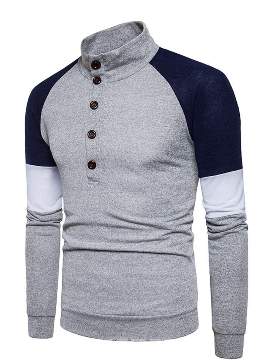 Ericdress Patchwork Slim Stand Collar Vogue Men's Pullover Sweater