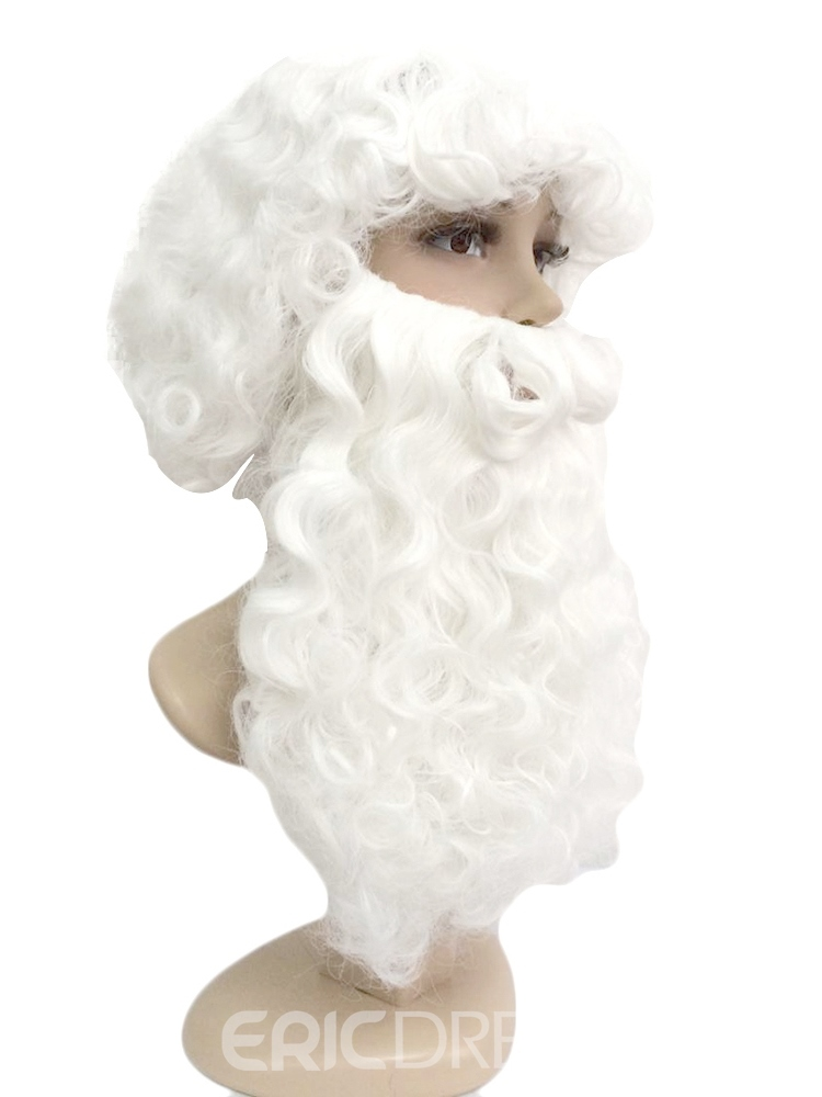 Ericdress Santa White Synthetic Hair Curly Wigs With Beard Capless Wigs 12 Inches