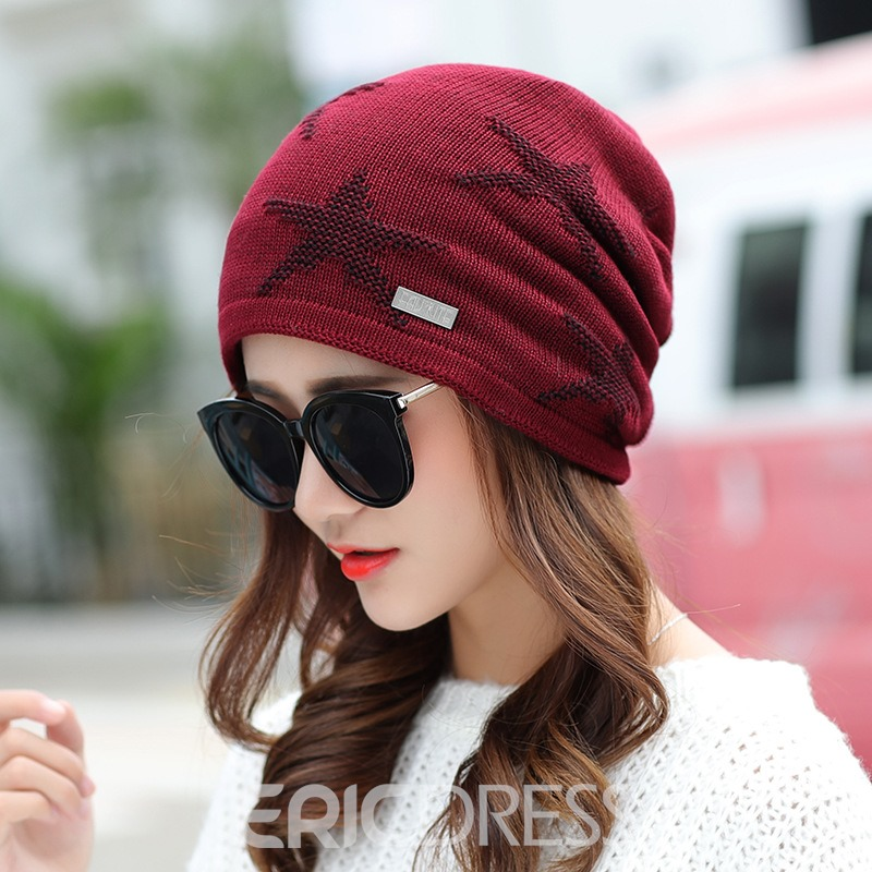 Ericdress Five-Star Pattern Warm Cozy Autumn Hat for Women