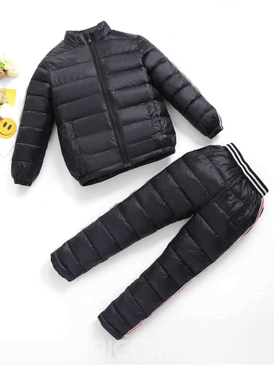 Ericdress Unisex Winter Stand Collar Coat And Pant Warm Boys And Girls Outfit