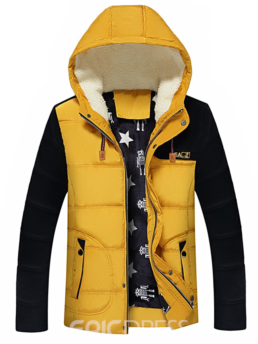 Ericdress Color Block Hooded Zip Thicken Warm Men's Winter Coat